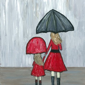mother and daughter in the rain